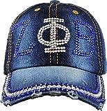 Zeta Phi Beta Distressed Denim Rhinestone Ladies Cap [Denim Blue - Adjustable]