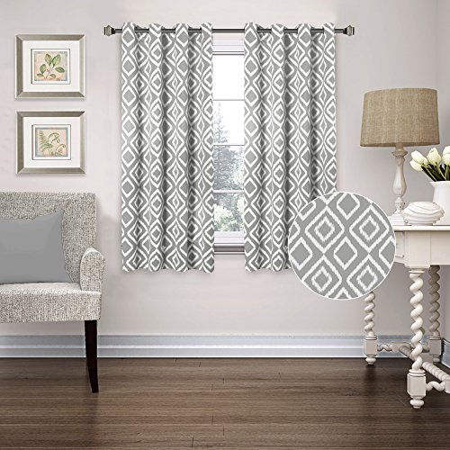 FlamingoP Room Darkening Ikat Fret Blackout Top Grommet Unlined Thermal  Insulated Window Curtains, Set Of Two Panels, Each 63 By 52, Gray