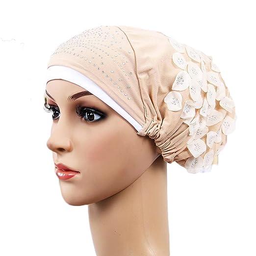 Women Turban Crystal Flower Hijab India Hat Muslim Headscarf Beige