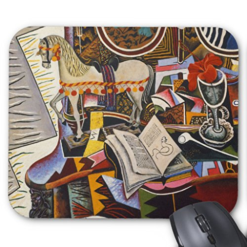 Miro Abstract Painting - Zazzle Horse Pipe Red Flower By Joan Miro Mouse Pad
