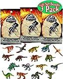 Jurassic World Mini Action Dino (Dinosaur) Figures Blind Bags Gift Set Bundle - 3 Pack (Assorted)