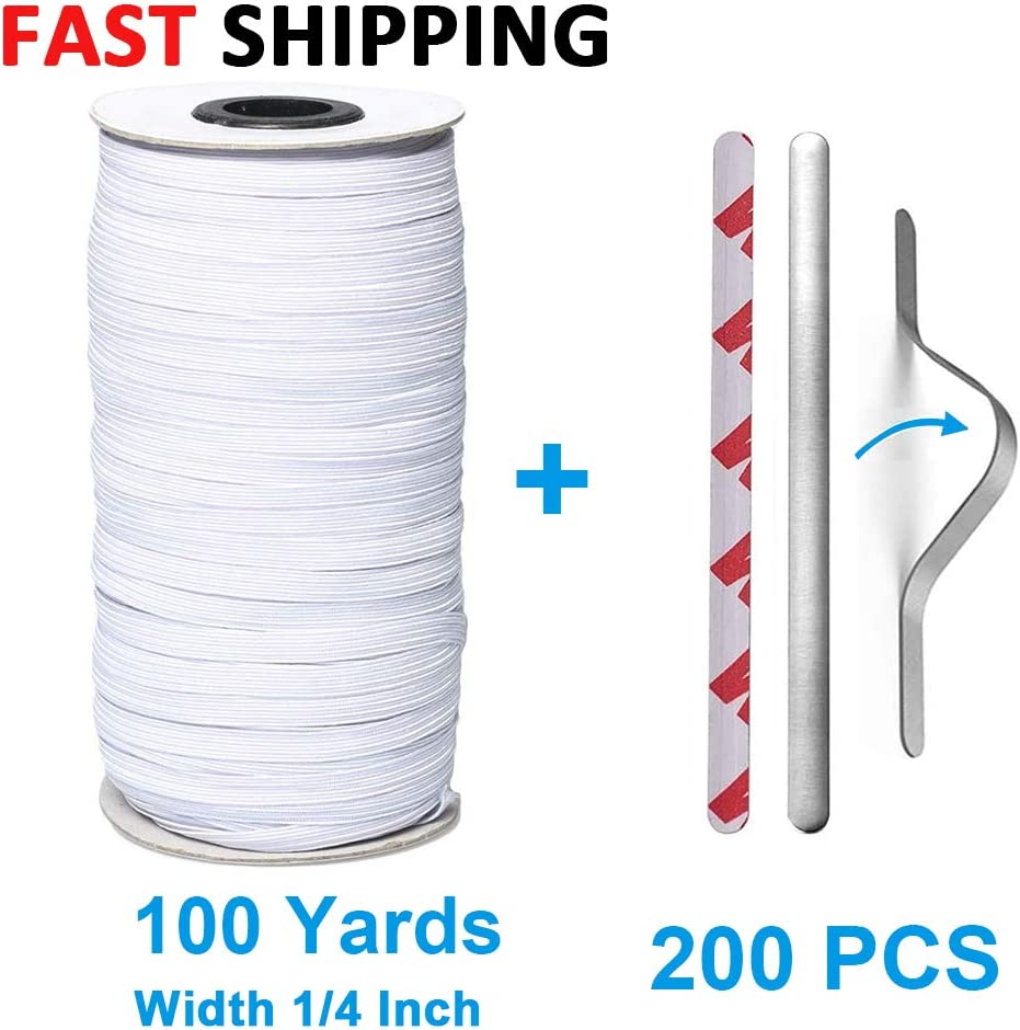 Elastic Bands for Sewing 1//4 Inch and Nose Bridge Strips Elastic Cord Cuff White, 100 Yards+200 PCS Heavy Elastic String for Crafts DIY Bedspread