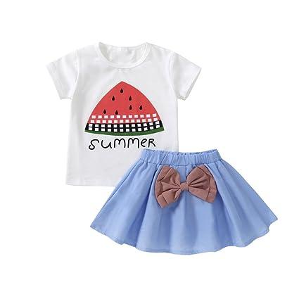 feiXIANG Conjunto de Ropa para bebé recién Nacido Camiseta para niña de Manga Corta con Estampado
