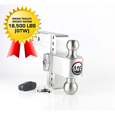 "Weigh Safe 180 HITCH LTB6-2.5 6"" Drop Hitch, 2.5"" Receiver 18,500 LBS GTW - Adjustable Aluminum Trailer Hitch Ball Mount & Stainless Steel Combo Ball, Dual Pin Keyed Lock: Automotive"