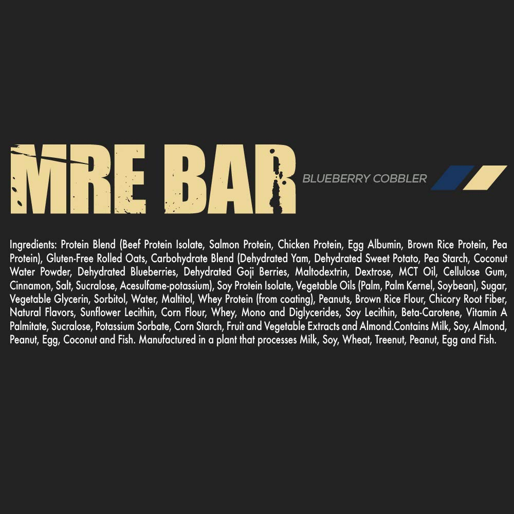 MRE Bar - Meal Replacement Bar (1 Box/12 Bars) Blueberry Cobbler