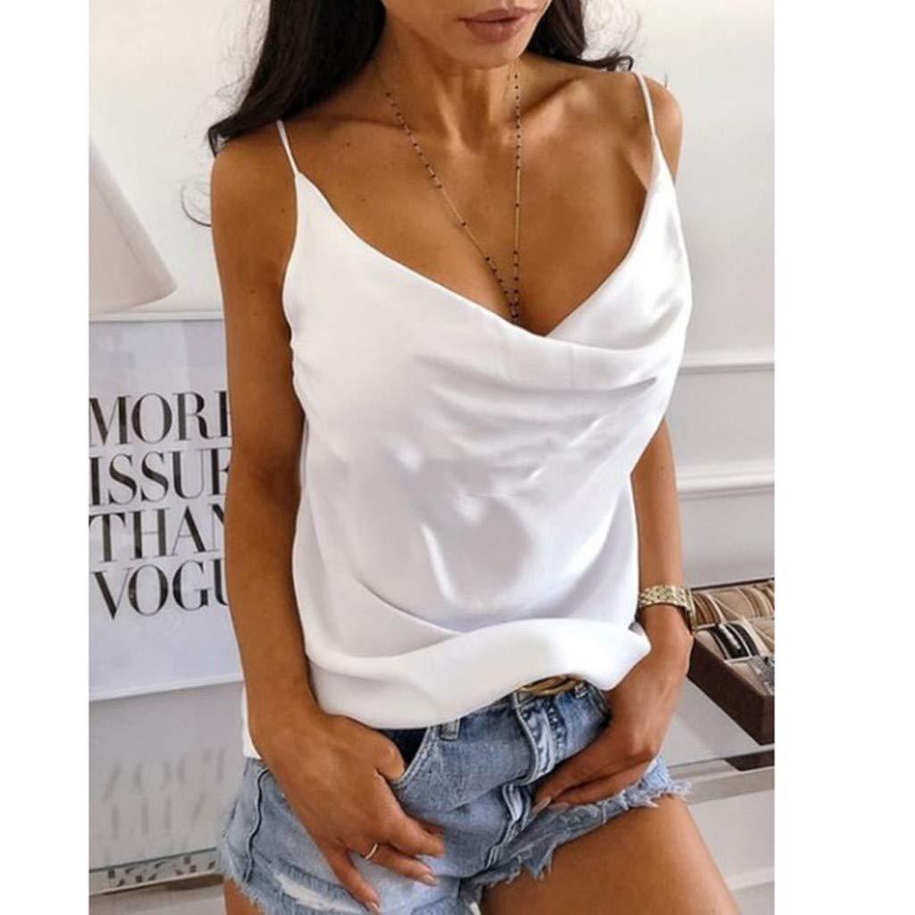 Susen Verano 2019 Moda Mujer Camiseta De Tirantes Mujer Sin Mangas Mujer Chaleco Halter Plisado con Cuello En V para Mujer Peque/ño Cabestrillo