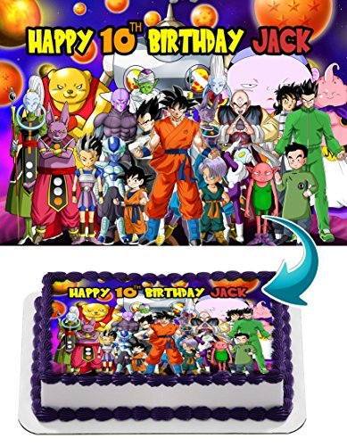 Dragon Ball Super, Goku, Vegeta, Gohan, Anime, Dragon ball Z Edible Cake Topper Personalized Birthday 1/4 Sheet Decoration Custom Sheet Party Birthday on Wafer Rice - Ball Z Cookie Dragon