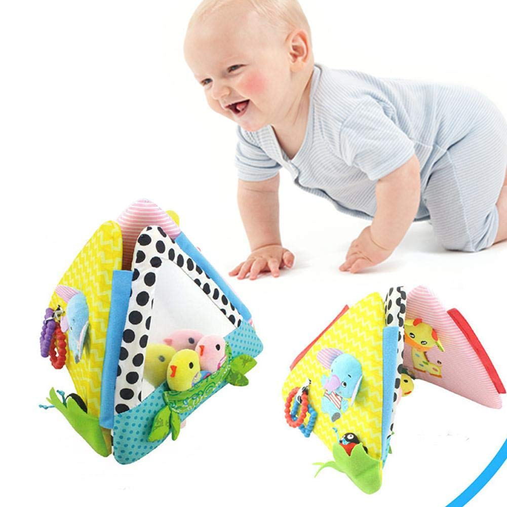 Baby Anti-Tear Cloth Book Baby Early Development Educational Cognitive Distorting Mirror Toys Triangle Book for Newborn