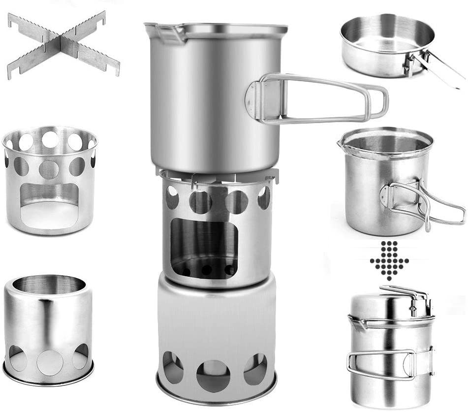 iBaste/_S Non Gas Camping Stove Stainless Steel Backpacking Stove Portable Wood Burning Stoves for Outdoor Camping Hiking Traveling Climbing Fishing Picnic BBQ