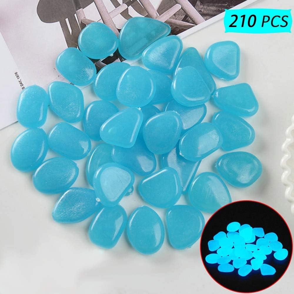 210 Pezzi Pietre Luminosi, Ciottoli Fluorescenti Incandescente Ciottoli incandescenza Pietre Rocce Colorate Decorazione per Giardino Percorso Cortile Acquario Serbatoio di Pesce (Blue)