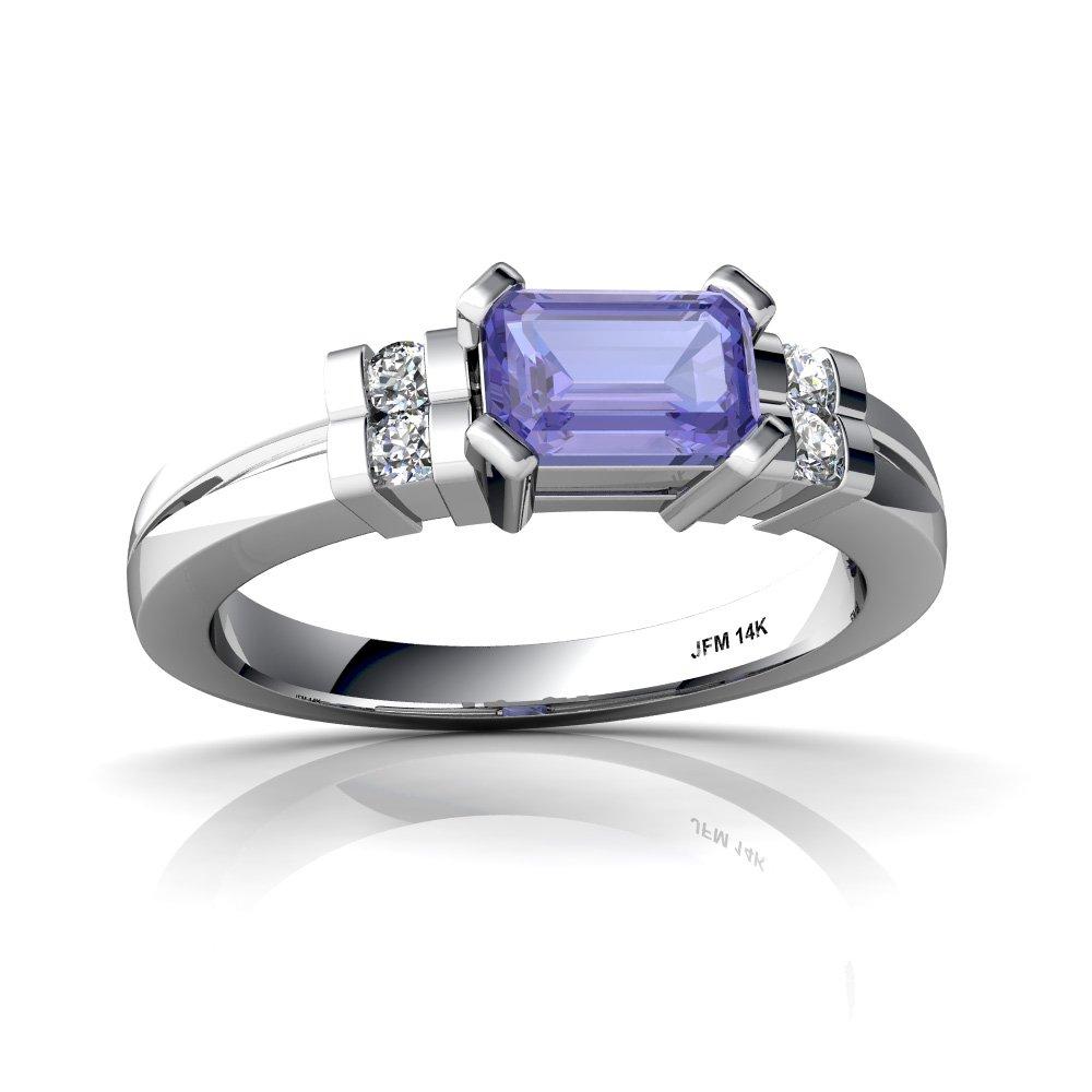 14kt White Gold Tanzanite and Diamond 6x4mm Emerald_Cut Art Deco Ring - Size 5.5