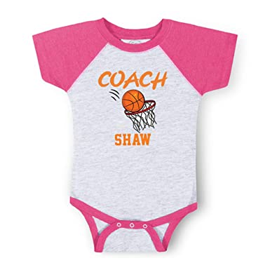 15b3a0968dc Personalized Custom Basketball Coach Cotton Short Sleeve Crewneck Boys-Girls  Baby Raglan Bodysuit Baseball Jersey
