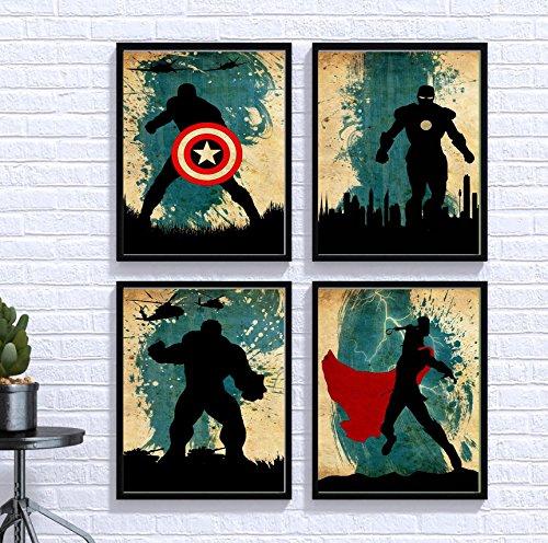 Avengers Poster Set Vintage Marvel Movie Print Minimalist Artwork Wall Art Home Decor Hanging Captain America Iron Man Thor Hulk