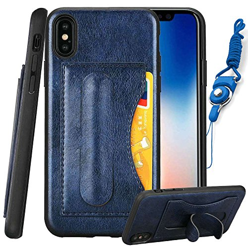 Blue Slim Hard Stand Case iPhone X (10) Retro Leather Credit Card Slots ID Holder Back Hybrid TPU Protective Cover for 5.8inch Apple iPhoneX Cases (Retro Id Credit Card)