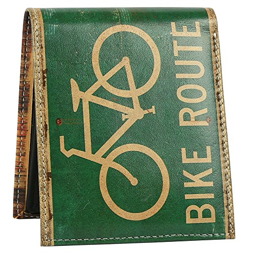 Bike Route Surf Wallet - Bifold Trifold Artisan Leather Wallets for Men With 2 ID Windows - Durable Designs and Graphics