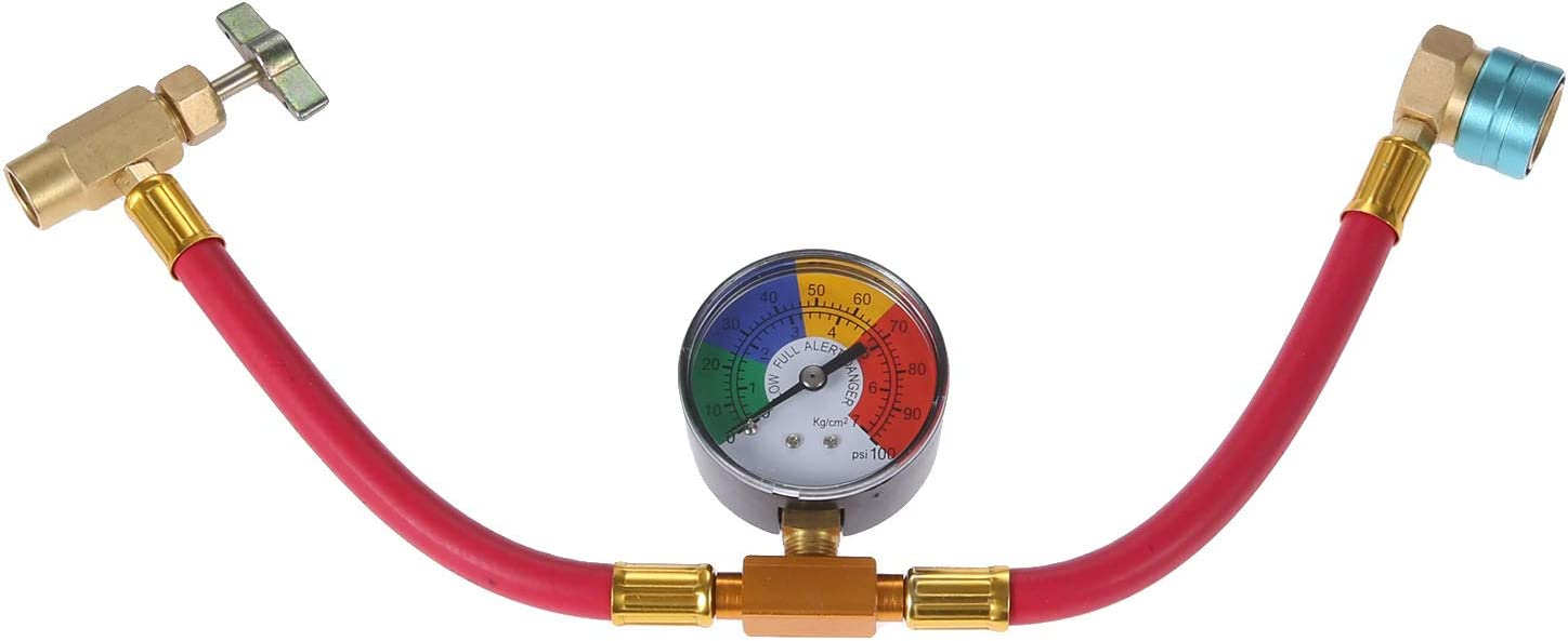 R1234YF Low Side Quick Coupler Car A//C Charge Hose with Gauge 1//2 Acme LH Can Opener Tap Gekufa R1234YF Refrigerant Recharge Hose Kit