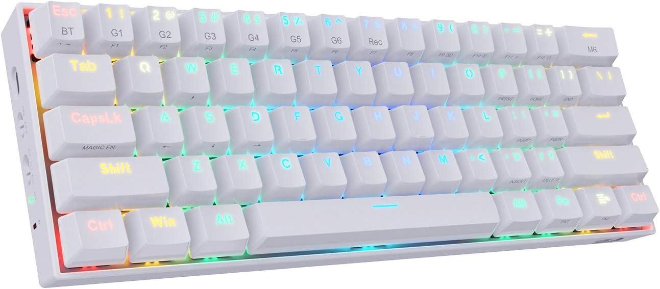Redragon K530 Draconic 60% Teclado mecánico Blanco inalámbrico RGB compacto, 61 teclas TKL diseñado 5.0 Teclado Bluetooth para juegos con ...