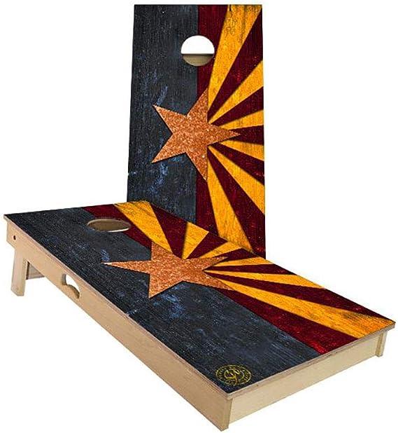 Slick Woody/'s Grey Wood Lines Cornhole Board Game Set USA Made Quality!!!