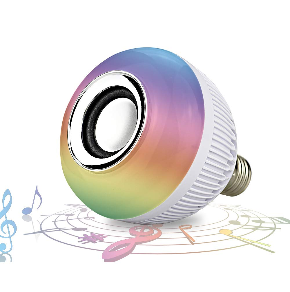 RAYWAY Bluetooth Speaker LED Light Bulb - 16 Multi Color Changing Music Bulb - Dimmable Wireless Colorful Mood Night Lamp - Men Women Gift for Party Kitchen Bedroom - E26 Base - Remote Control by RAYWAY