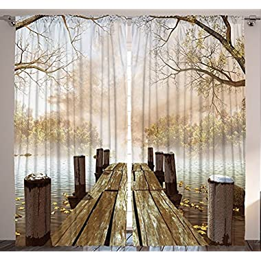 Curtains for Living Room by Ambesonne, Fall Wooden Bridge Curtains Rustic Country Theme Home Decorations for Bedroom Kids Room Nature Picture Artwork 2 Panels Set, 108 X 84 Inch, Brown Yellow Green