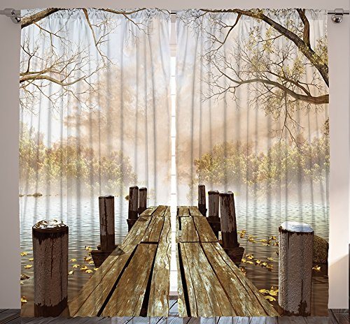 Ambesonne Curtains for Living Room by, Fall Wooden Bridge Curtains Rustic Country Theme Home Decorations for Bedroom Kids Room Nature Picture Artwork 2 Panels Set, 108 X 84 Inch, Brown Yellow Green