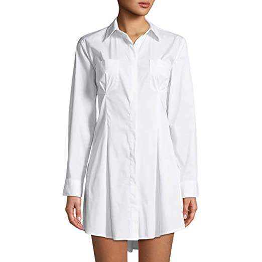 8d49d54fee5 Amazon.com  KENDALL + KYLIE Womens Corset-Back Mini Shirtdress White ...