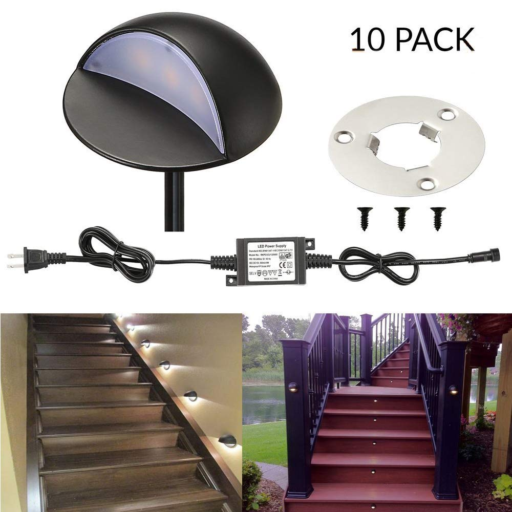 LED Deck Stair Light Kit, Sumaote 10 Pack Low Voltage Waterproof IP65 Φ1.97'' LED Step Light Wood Recessed Warm White LED Lighting Outdoor Yard Patio Stair Landscape Decoration Lamp, Black, Ship by DHL