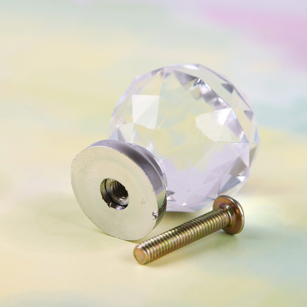 10 x crystal acrylic glass diamond cut door knobs kitchen cabinet drawer knobs with screw for home decorating 30mm clear amazoncouk diy u0026 tools
