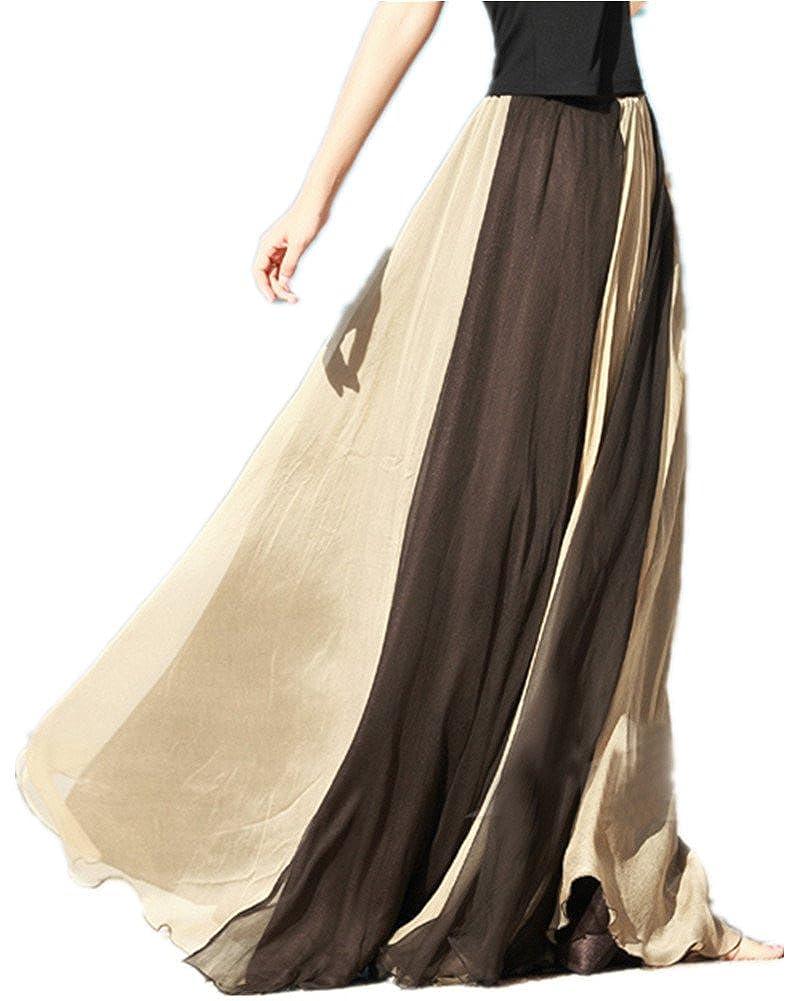 Emoyi® Women Soft Vintage Bohemian Chiffon Maxi Bouffancy Long Skirt Beach Dress