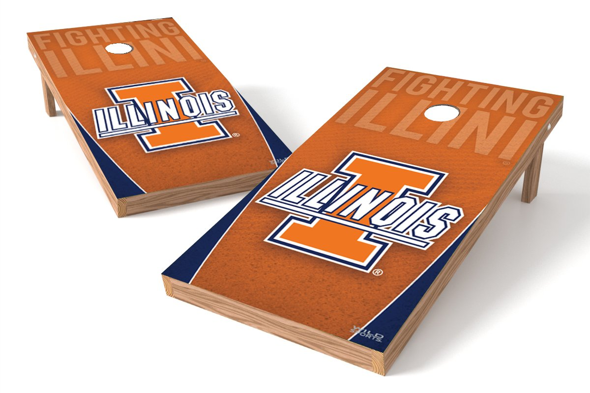Wild Sports NCAA College Illinois Fighting Illini 2' x 4' Authentic Cornhole Game Set