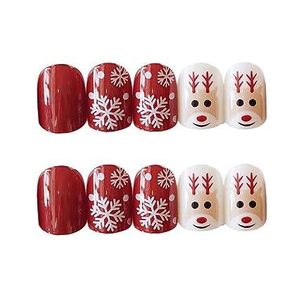 Qulin uñas postizas con diseño de copo de nieve de Navidad, uñas ...