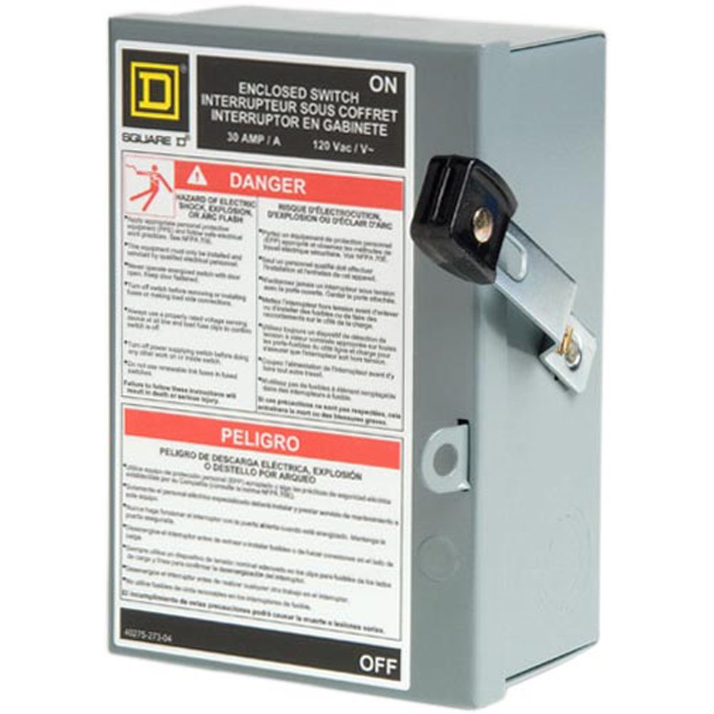 Square D by Schneider Electric L111N 30 Amp 120/240-Volt Single-Pole Indoor Light Duty Fusible Safety Switch with Neutral by Square D by Schneider Electric