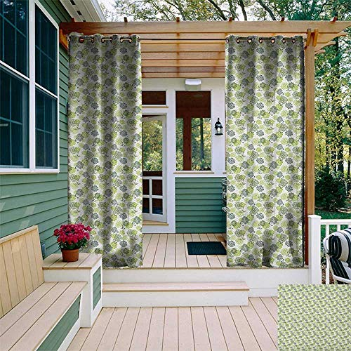 - leinuoyi Floral, Outdoor Curtain Set, Abstract Blossoms in Green Shades on Polka Dotted Retro Style Background, Balcony Curtains W108 x L108 Inch Apple Green Sage Green