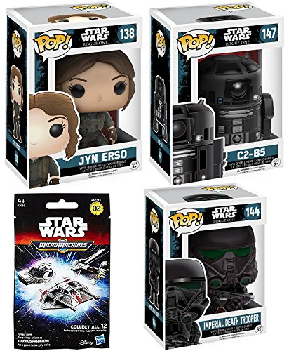 3 Funko Star Wars Pop! figures Death Trooper / C2-B5 Droid #147 & Jyn Erso #138 Character Bobble-Head Rogue One Set & Micromachines Blind Bag Star Ship
