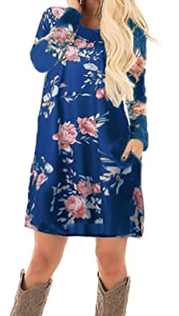 eeafbe83e0cd0 Smile Fish Women Spring Floral Print Pocket Long Sleeve Mini A-Line ...