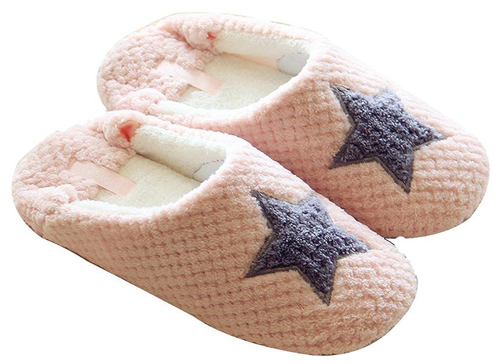 FreLO Womens Pink Coral Fleece Star Cute Ladies Slippers House Slippers