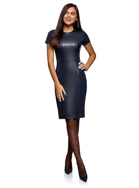oodji Collection Mujer Vestido Combinado con Piel Sintética, Azul, ES 36 / XS