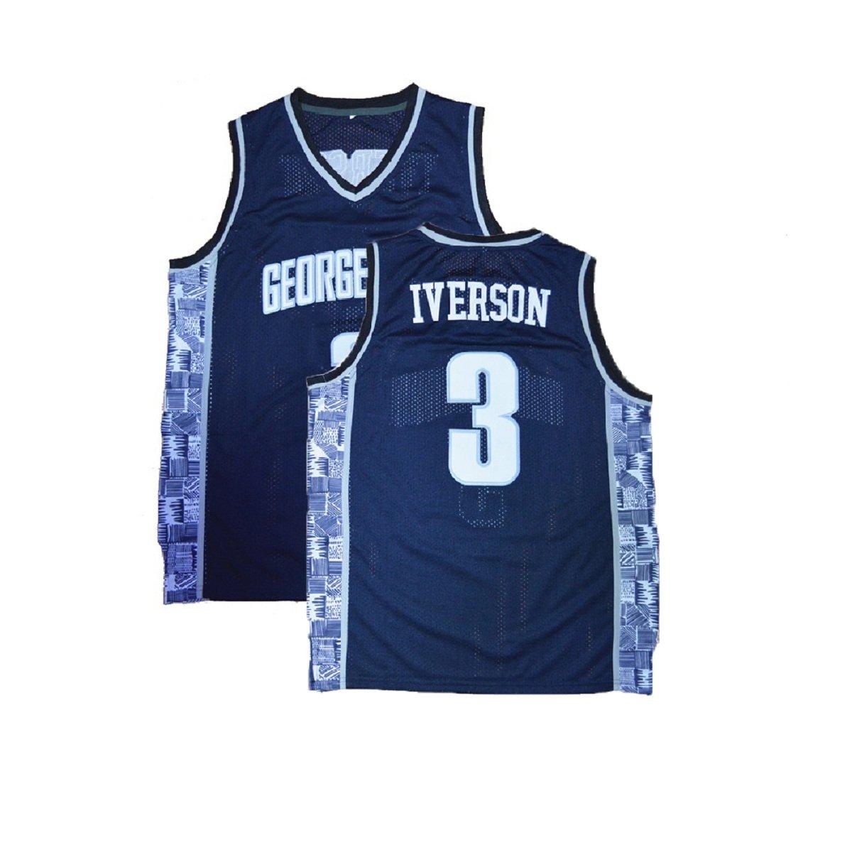 cda9691a1 Amazon.com  Men s Allen Retro Jerseys Iverson Athletics Jerseys The  University Basketball  3 Jersey Blue (S-XXL)  Clothing .