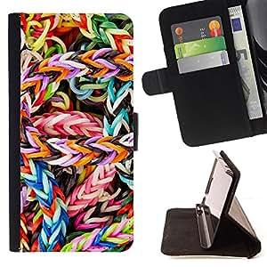BullDog Case - FOR/HTC One M8 / - / COLORFUL CANDY /- Monedero de cuero de la PU Llevar cubierta de la caja con el ID Credit Card Slots Flip funda de cuer