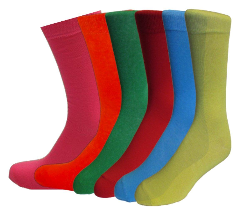 Fine Fit Mens Fancy Solid Color Cotton Socks (6 Pairs) (6 Pair (10-13))