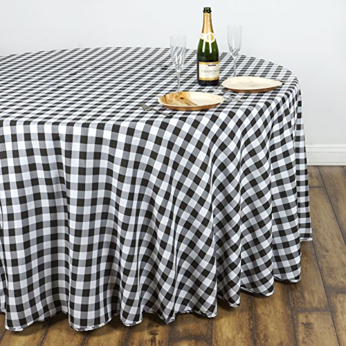 BalsaCircle 90 inch Gingham Checkered Polyester Tablecloth - Black and White