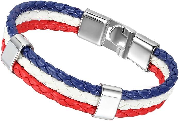 Flongo Bracelet Cuir Drapeau Embleme National Alliage Fantai