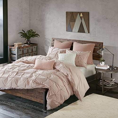 Tufted Set Comforter (Ink+Ivy Masie Duvet Cover Full/Queen Size - Blush, Elastic Embroidery Tufted Ruffles Duvet Cover Set – 3 Piece – 100% Cotton Percale Light Weight Bed Comforter Covers)
