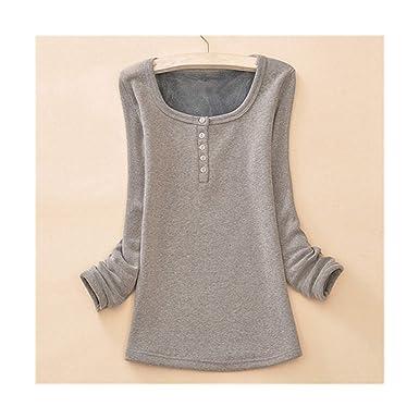 Camiseta de Mujer Camisetas de Terciopelo Grueso cálido ...