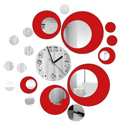 Soledi Reloj de pared de metal con efecto de espejo Adhesivo Vinilo rojo plata decoracion moderno