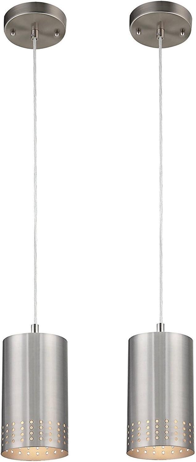 Dysmio Lighting One-Light Adjustable Mini Pendant with Perforated Cylindrical Metal Shade, Brushed Nickel Finish