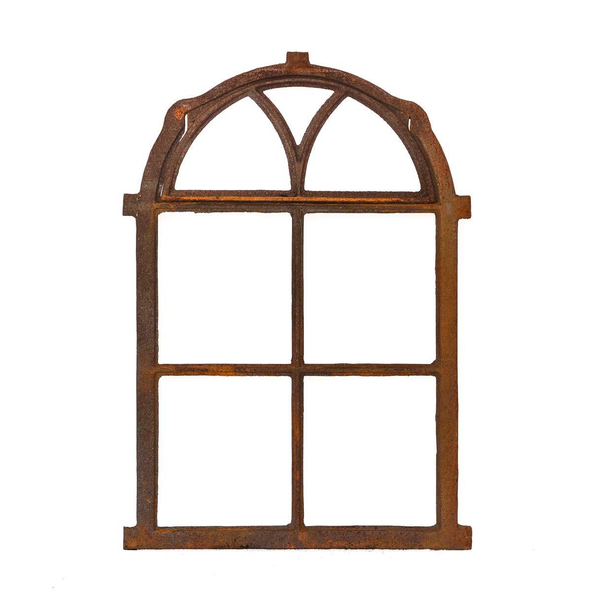 Antikas | klappbares Eisenfenster in antiken Stil | Hö he ca. 75 cm - Breite ca. 50 cm | Fenster fü r Stall- und Gartenmauer | Fensterrahmen aus Gusseisen
