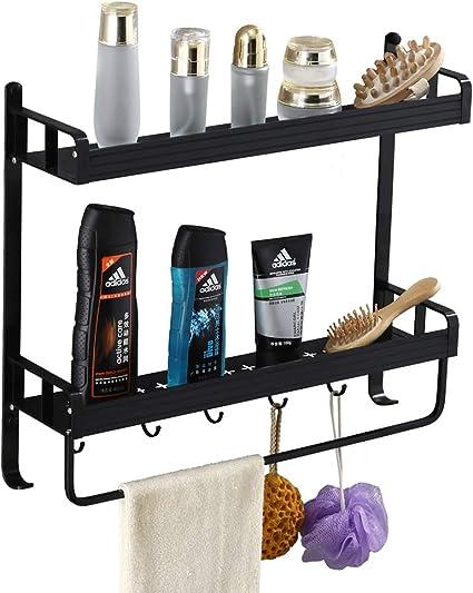 Yeegout adhesivo estanteria ducha con barra de toalla y ganchos, aluminio Espesamiento estanteria baño sin taladro montado en la pared estante para ...