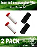 2 Pack For Bosch Athlet Cordless Vacuum Cleaner Foam and Microsan Stick Filter. Genuine Green Label Product