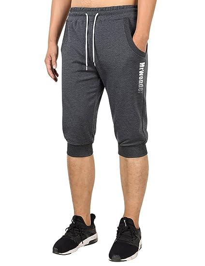 0866bbfecb02 MrWonder Men s 3 4 Jogger Capri Pants Casual Workout Gym Shorts Running  Sweatpants with Pockets